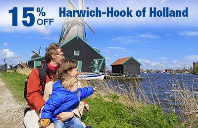 Hoek van Holland-Harwich: 15% korting op tarieven, maaltijden en hutten!